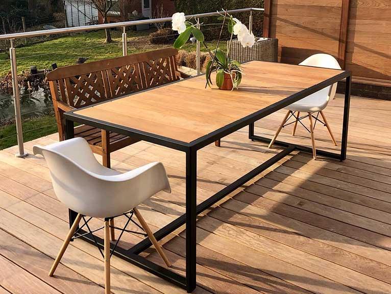 table jardin métal verrière devis gratuit Belgique la verrière décor